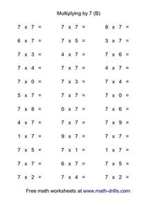Multiplying by 7 (B) Worksheet
