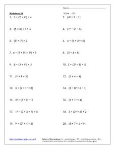 Worksheet #9: Order of Operations Worksheet