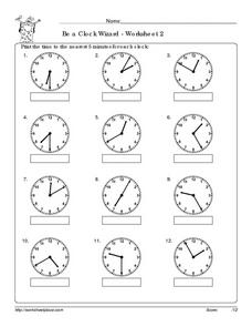 Be a Clock Wizard - Worksheet 2 Worksheet