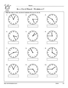 Be a Clock Wizard 7 - Worksheet 7 Worksheet