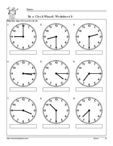Be a Clock Wizard: Worksheet 9 Worksheet