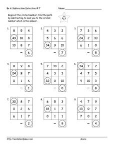 Be a Subtraction Detective Worksheet