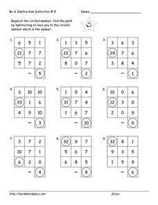 Be a Subtraction Detective #8 Worksheet