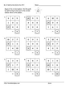Be a Subtraction Detective #9 Worksheet