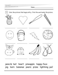 Initial P: Word Match Worksheet