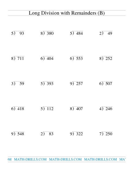 Long Division with Remainders (B) Lesson Plan for 4th ...