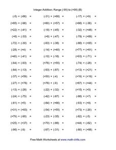 Integer Addition: -99 through +99 Worksheet