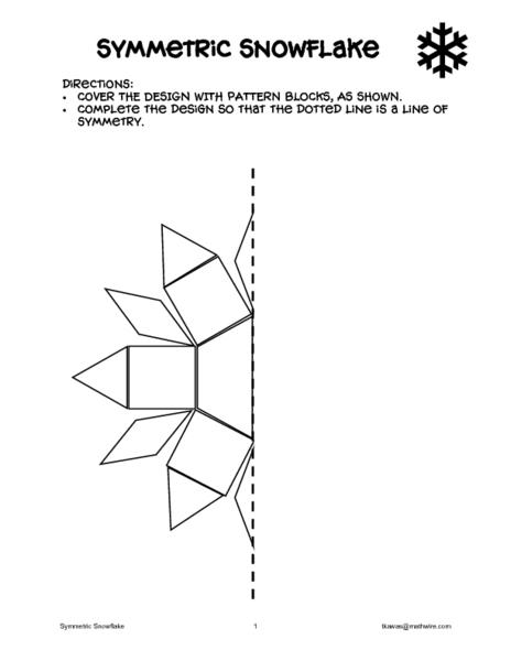 Symmetric Snowflake Worksheet For 1st 2nd Grade Lesson
