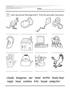 Initial K: Word Match Worksheet