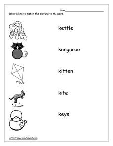 Matching Pictures with Words That Begin With K Worksheet