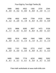 Four-Digit by Two-Digit Tenths (B) Worksheet