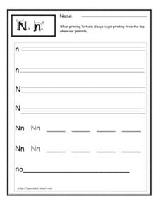 Printing letter n Worksheet