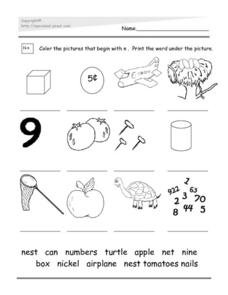 Identifying Pictures That Begin With N Worksheet
