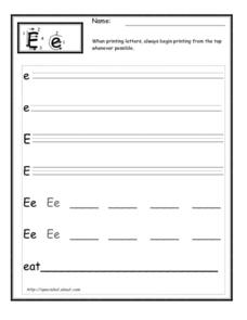 Practice Printing The Letter E Worksheet