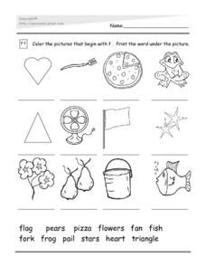 Letter F: Initial Sounds Worksheet
