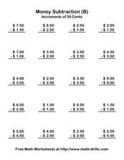 Money Subtraction (B) Increments of 50 Cents Worksheet