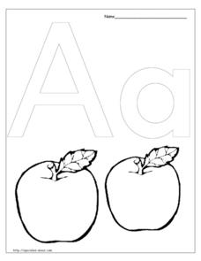 A is for Apples Worksheet