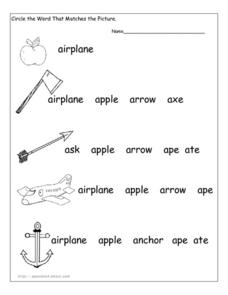 Letter a picture matching Worksheet