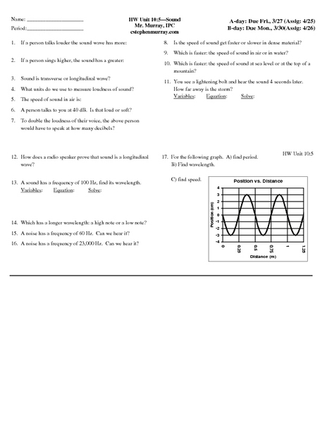 Sound Waves Worksheet Murray Lesson Plans & Worksheets