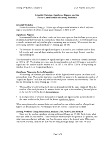 Scientific Notation, Significant Figures and the Factor-Label Method of Solving Problems Worksheet