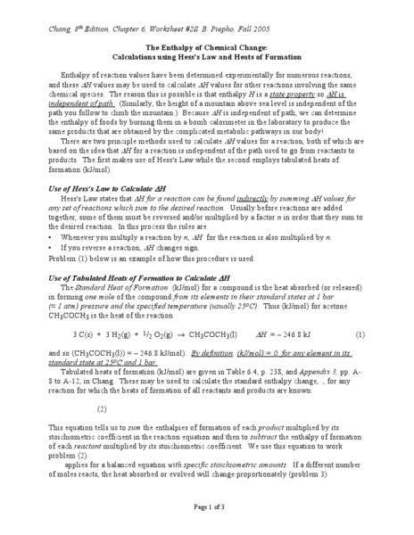 The Enthalpy of Chemical Change Worksheet