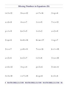 Missing Numbers in Equations 9 Worksheet