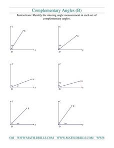 Complementary Angles (B) Worksheet