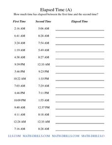 Elapsed Time (A) Worksheet