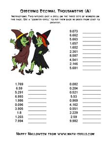 Witches Ordering Decimal Thousandths (A) Worksheet