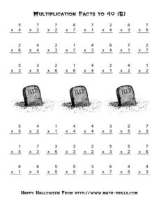 Multiplication Facts to 49 Worksheet