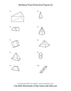 Identifying Three-Dimensional Figures (2) Worksheet
