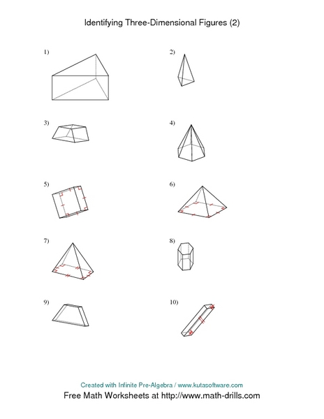 Identifying Three Dimensional Figures 2 Worksheet For