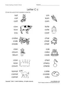 Letter C c words Worksheet