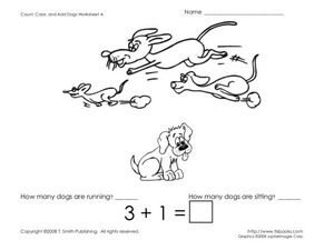 Count, Color, and Add Dogs: Seven Worksheets Worksheet