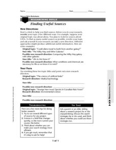 Finding Useful Sources Worksheet