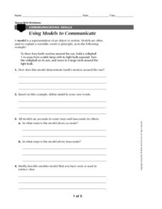 Using Models to Communicate Worksheet