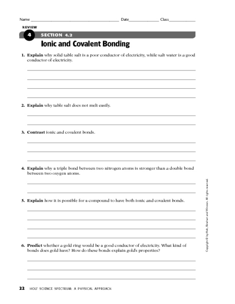 Section 4 2 Ionic And Covalent Bonding Worksheet For 9th