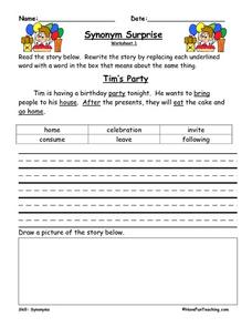 Synonym Surprise 1, 2, 3, 4, 5 Worksheet
