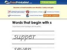 Words That Begin with S Worksheet