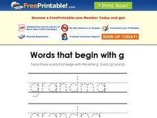 Words that Begin with G Worksheet