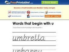 Words That Begin With U Worksheet