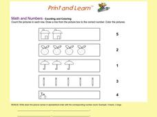 Counting And Coloring Worksheet