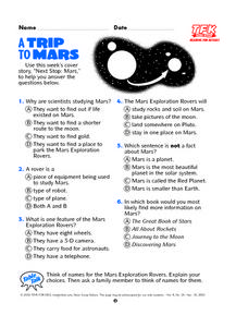 A Trip to Mars Lesson Plan