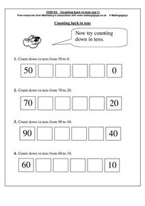 Counting Back in Tens Worksheet