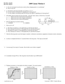 Linear Motion 6 Worksheet