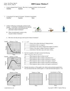 Linear Motion 5 Worksheet