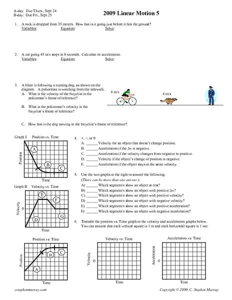 Linear Motion Worksheet - defendusinbattleblog