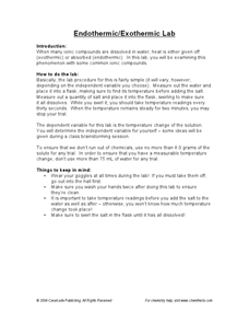 Endothermic and Exothermic Lab Worksheet