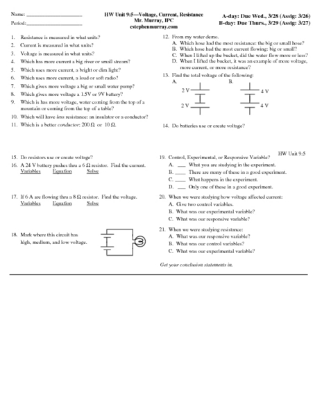 Voltage, Current, Resistance Worksheet for 9th - 12th Grade ...
