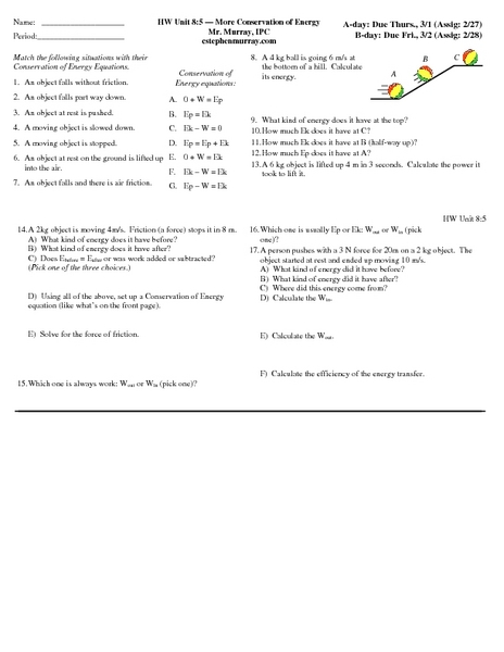 law of conservation of energy worksheet - Termolak
